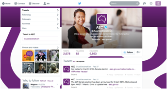 Figure 2: The Twitter feed of the Australian Electoral Commission