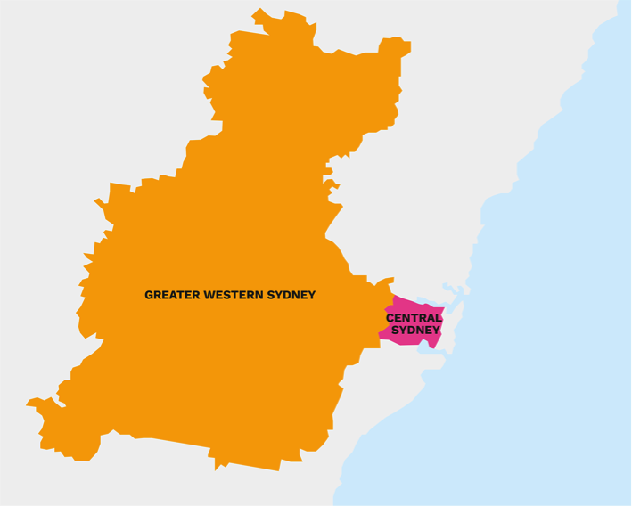 Map of Greater Western Sydney