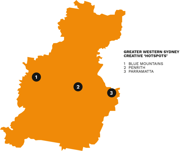 Map showing Greater Western Sydney's creative hotspots in the Blue Mountains, Penrith, Parramatta